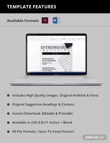 Free Professional Sales Magazine Template Format