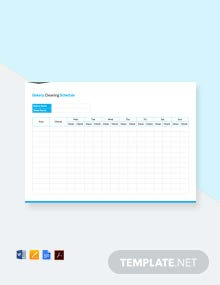 Free Bakery Cleaning Schedule Template