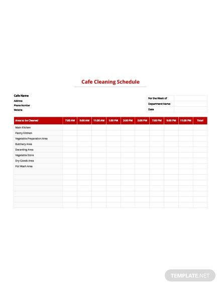 Free Cafe Cleaning Schedule Template