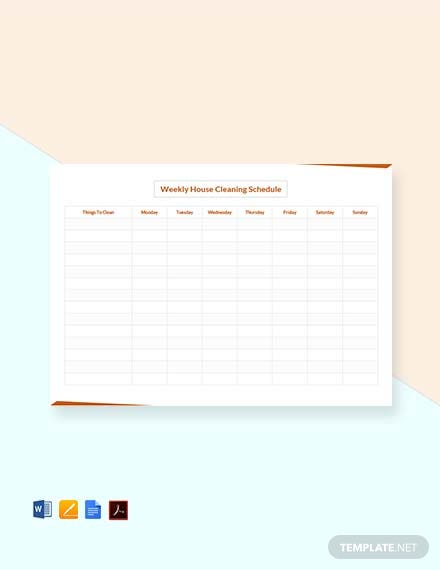 Free Weekly House Cleaning Schedule Template