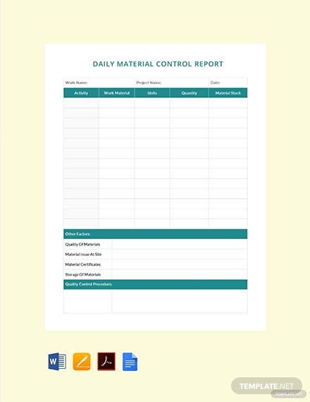 Free Daily Material Control Report Template