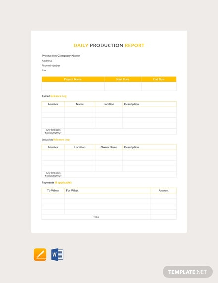 Free Daily Production Report Template
