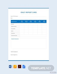 Daily Report Card Example Template