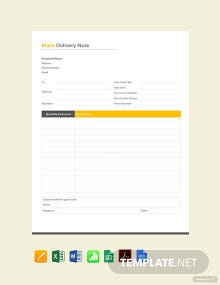 Free Blank Delivery Note Template