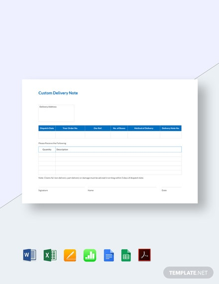 Free Custom Delivery Notes Template