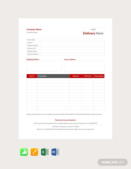 Free Delivery Note Example Template