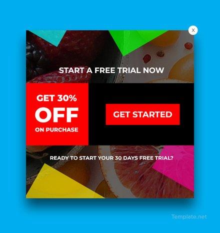 Free Website Trial Pop-up Template
