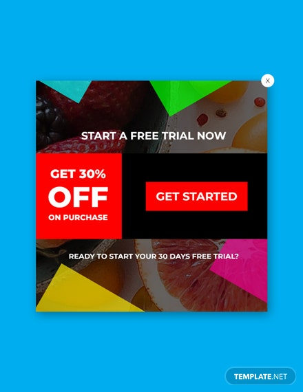 Free Website Trial Pop-up Template