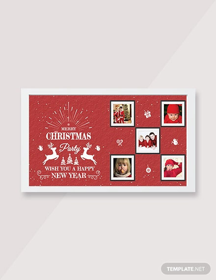Free Retro Christmas Family Photo Card Template