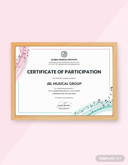 Free Choir Certificate of Participation Template