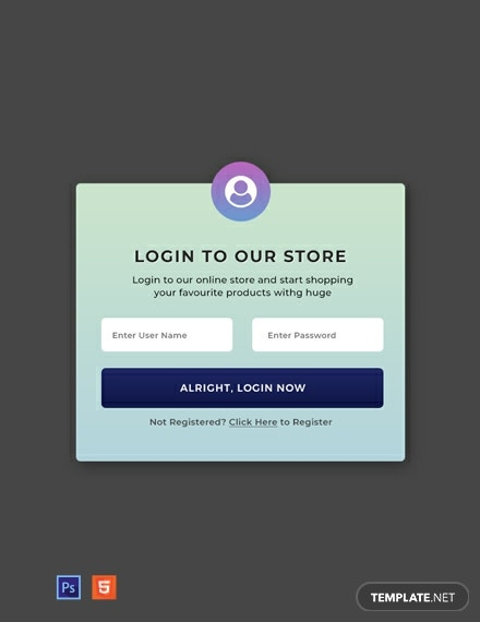 Free Website Pop-up for Login Template