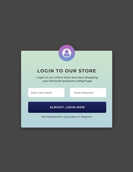 Free Website Pop-up for Login Template