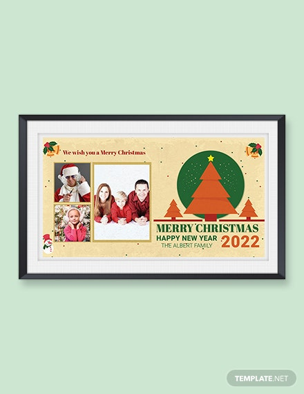 Free Retro Christmas Photo Card Template