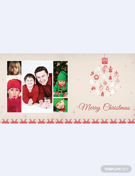 Simple Merry Christmas Family Photo Card Template