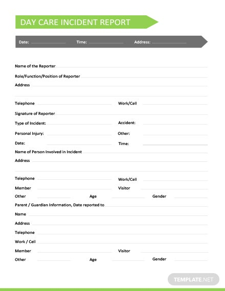 Daycare Incident Report Template