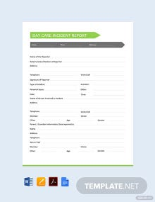 Free Daycare Incident Report Template