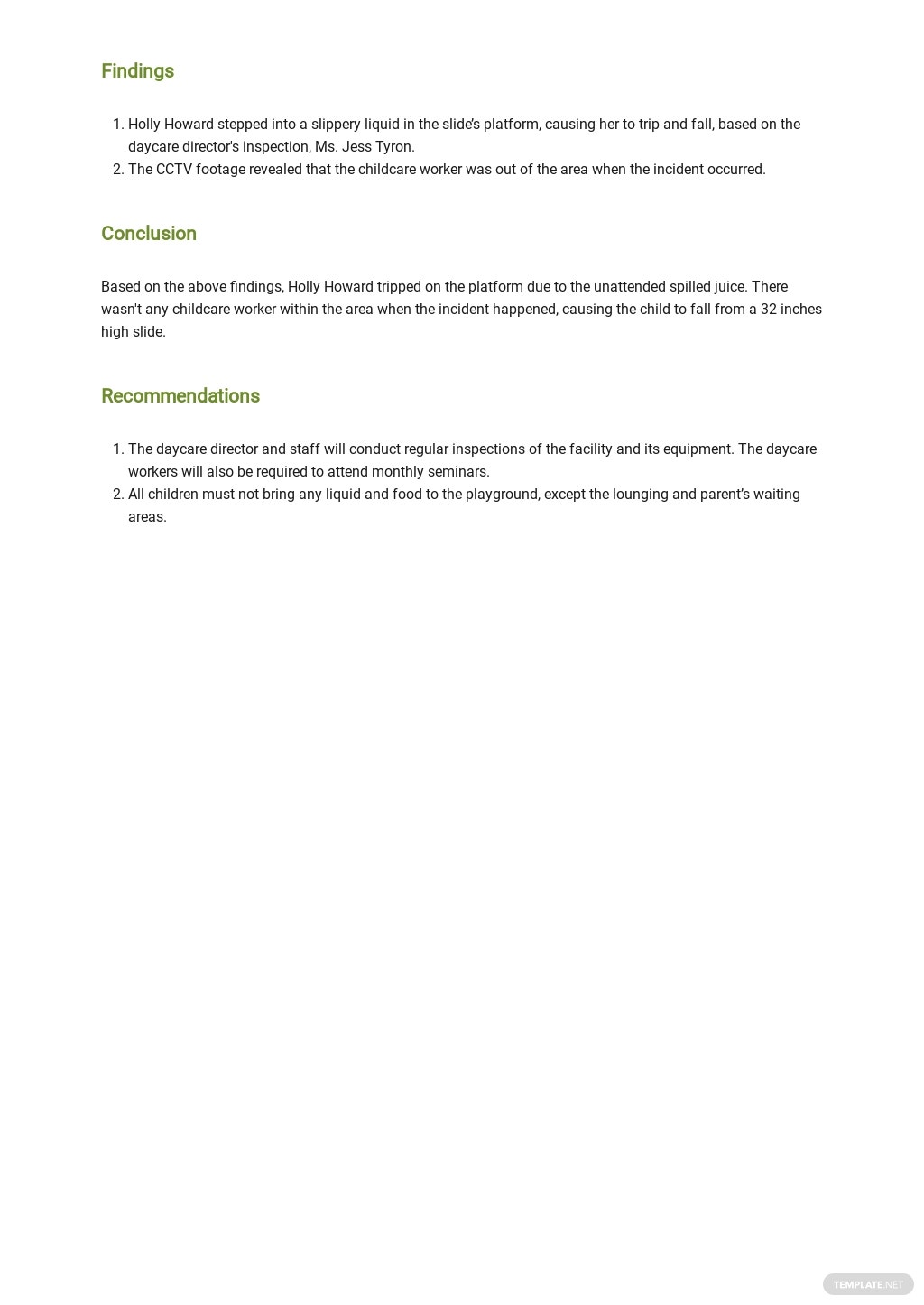 Free Daycare Incident Report Template 2.jpe