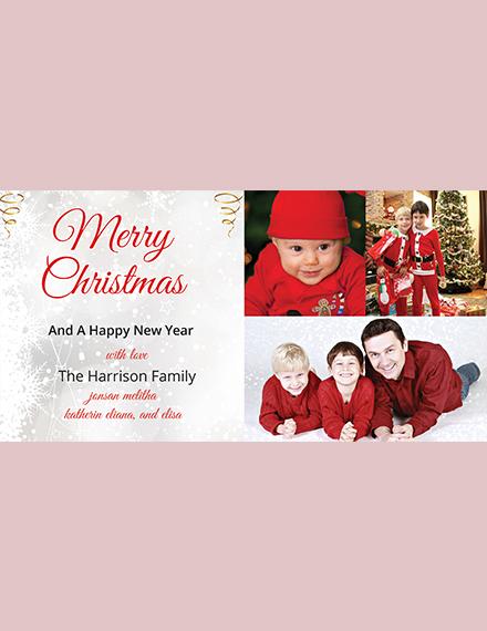Simple Vintage Christmas Photo Card Template