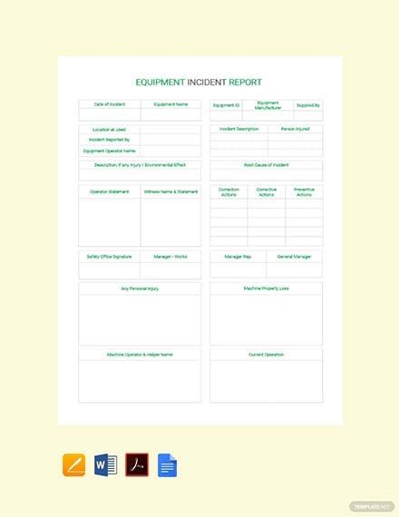 Free Equipment Incident Report Template
