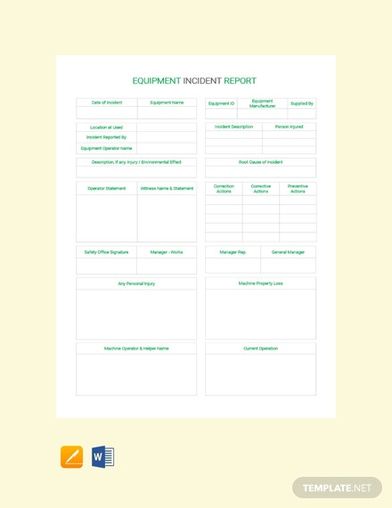 Free Equipment Incident Report Template
