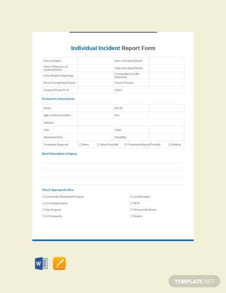 Free Individual Incident Report Form Template