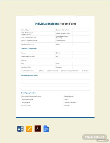 individual incident report form template