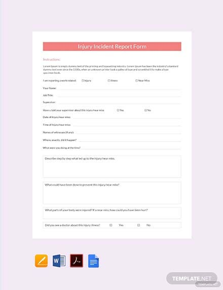 photograph regarding Free Printable Incident Report titled Totally free Harm Accident Article Style Template - PDF Phrase