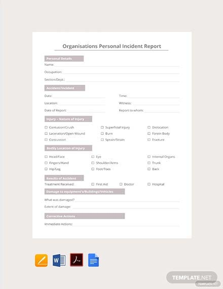 Free Organisations Personal Incident Report Template