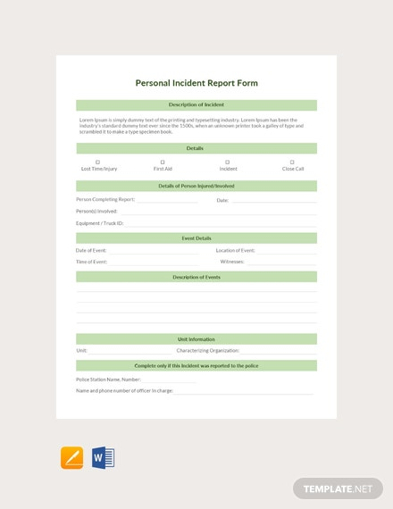 Free Personal Incident Report Form Template