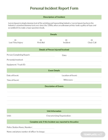 Personal Incident Report Form Template