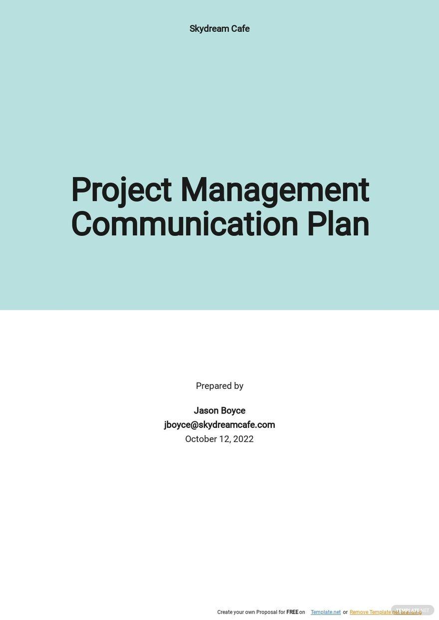 Free Sample Project Management Communication Plan Template.jpe
