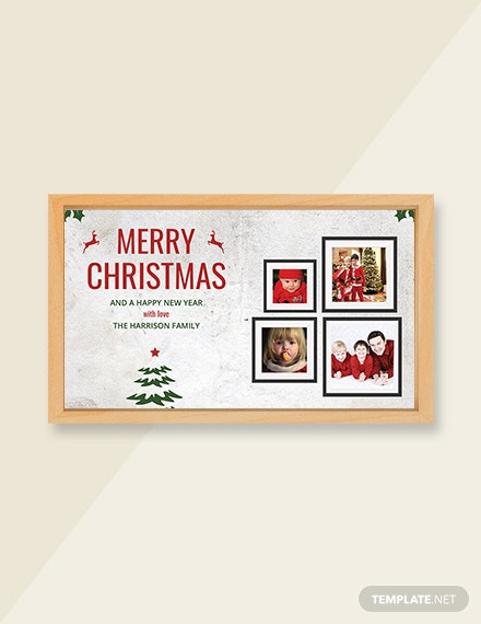 Free Vintage Christmas Family Photo Card Template