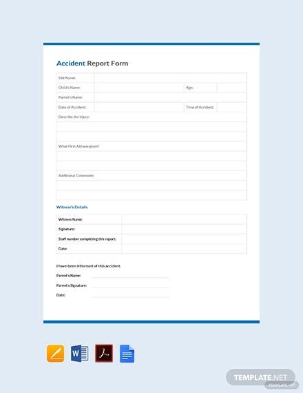 accident report form template 2