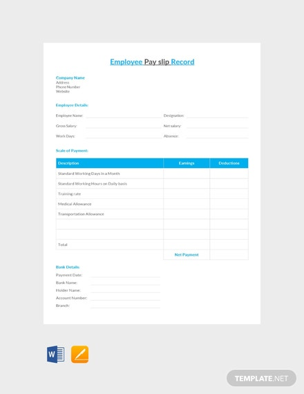 Free Employee Pay Slip Record Template