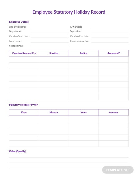 Employee Statutory Holiday Record Template