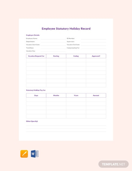 Free Employee Statutory Holiday Record Template
