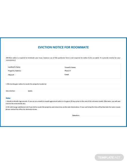 Free Eviction Notice for Roommate Template