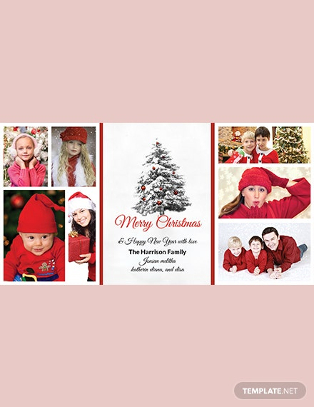 Simple Christmas Holiday Photo Card Template