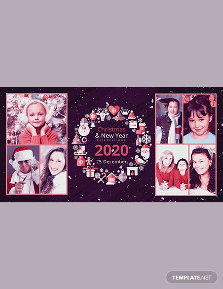 Simple Merry Christmas Photo Card Template