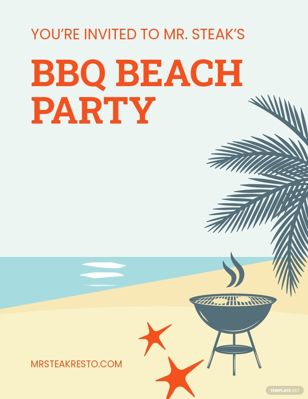 Bbq Beach Party Flyer Template.jpe