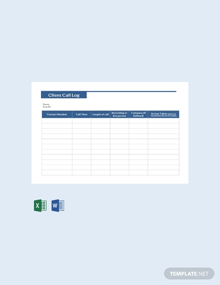 Free Client Call Log Template