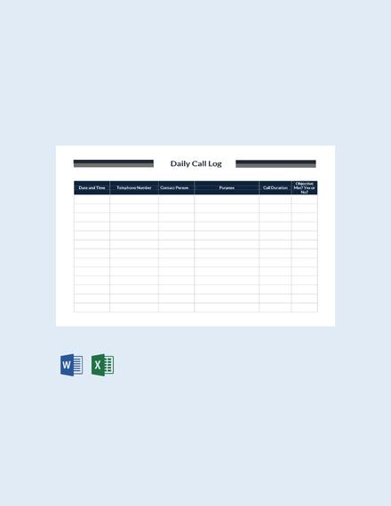 Free Daily Call Log Template