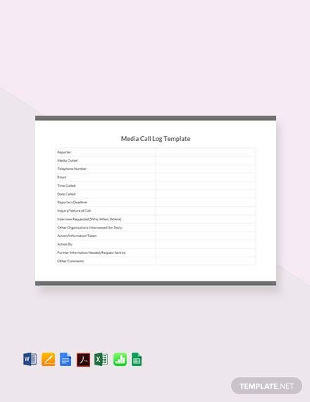 Free Media Call Log Template