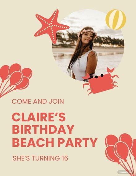 Birthday Beach Party Flyer Template.jpe