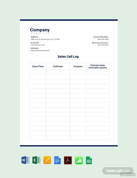 Free Outside Sales Call Log Template Download 358 Sheets In Word