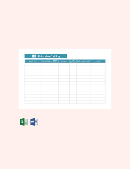 Free Printable Call Log Template