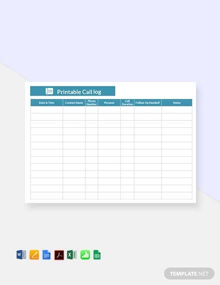 photograph relating to Printable Call Log Template titled 44+ Totally free Log Sheet Templates - PDF Phrase Excel Google