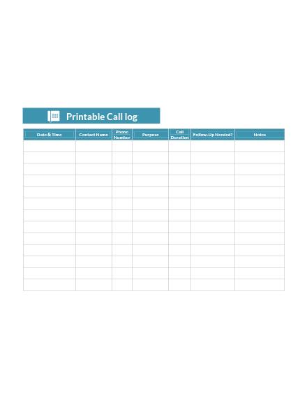 Printable Call Log Template