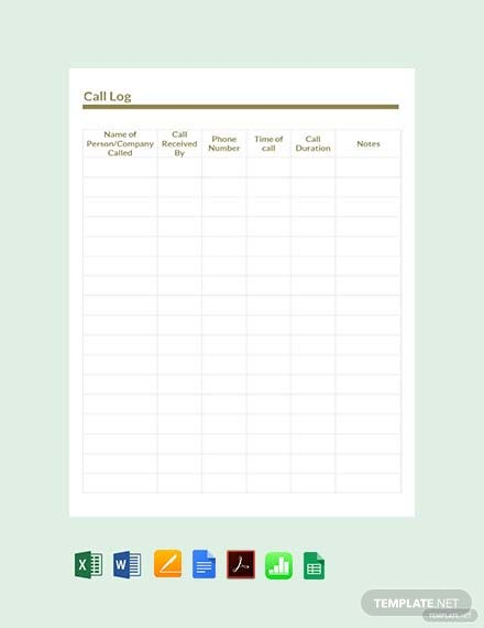 Free Sample Call Log Template