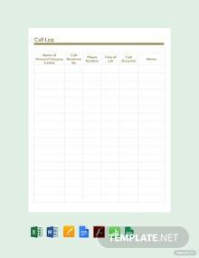Free Sample Call Log Template